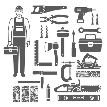 carpenter tools: Black silhouettes icons set of sawing and carpentry tools and carpenter in overalls isolated vector illustration Illustration