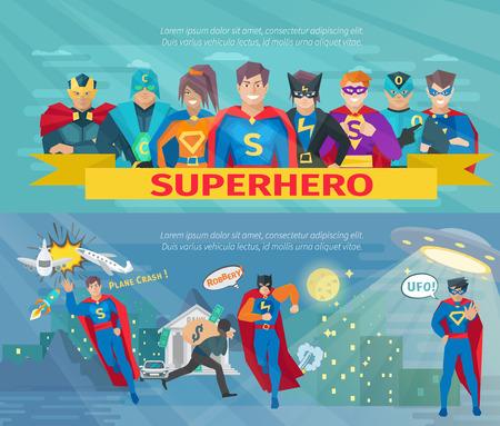 De horizontale die banners van het Superheroteam met het opslaan van de vlak geïsoleerde vectorillustratie van wereldsymbolen worden geplaatst