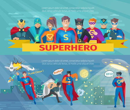 cartoon superhero: Superhero team horizontal banners set with saving the world symbols flat isolated vector illustration Illustration