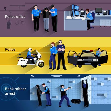 robo de autos: Banderas horizontales de la policía de la gente Policía en la oficina y al aire libre y en la ilustración vectorial de sombra plana detención ladrón de bancos