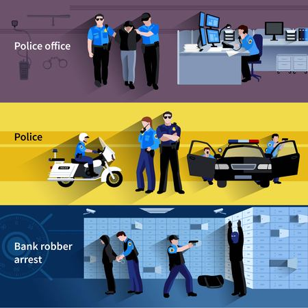 bank robber: Police horizontal banners of policeman people in office and outdoor and at bank robber arrest flat shadow vector illustration