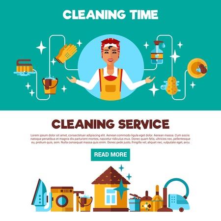 servicio domestico: La limpieza de servicio completo con la limpieza y planchado 2 banners informativos planas anuncio página del resumen ilustración vectorial Vectores