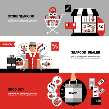 buyer: Flat horizontal banners collection on theme sale of seafood with  store seafood products buyer set and dealer at counter vector illustration