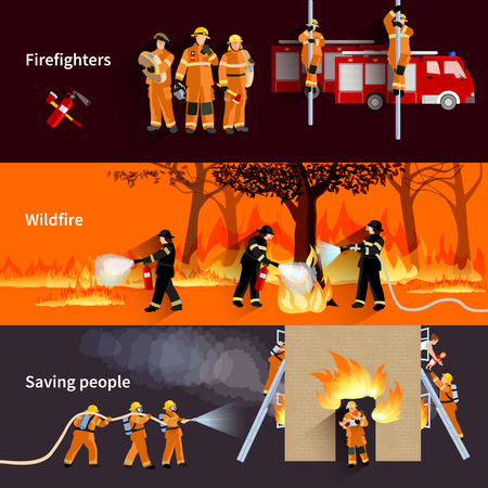 burning: horizontal Firefighter people banners with firefighters alerting wildfire and brigade extinguishing flames in residential house flat vector illustration