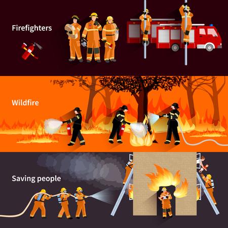 uniforme: horizontales personas bombero pancartas con los bomberos de alerta de incendios forestales y la brigada de extinción de llamas en casa residencial ilustración vectorial plana Vectores