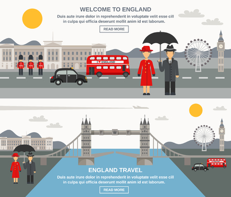 England culture weather traditions and sightseeing information for travelers 2 flat interactive banners webpage abstract isolated vector illustration