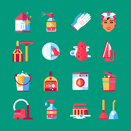 house icon: Housekeeper cleaning service worker accessories and equipment flat icons set on green background abstract isolated vector illustration Illustration