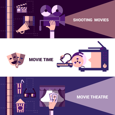 Flat horizontal cinema banners with shooting moives and moive theatre icons vector illustration