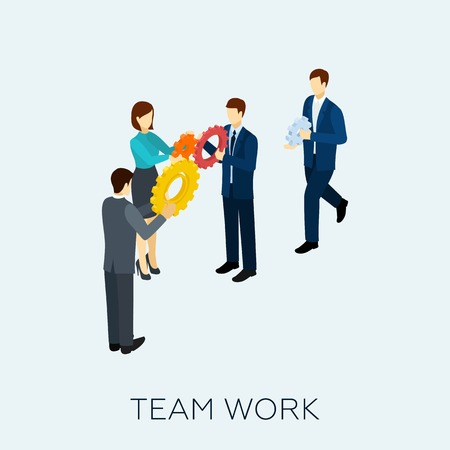 Teamwork concept with isometric business people and cogwheel mechanism vector illustration