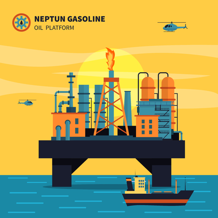 extraction: Oil platform for oil extraction with ship sea and helicopters flat vector illustration Illustration