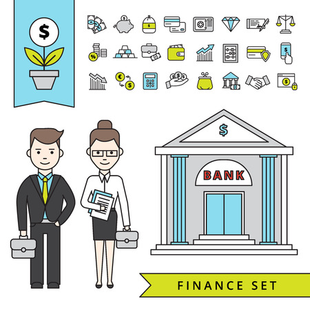 icon set: Flat finance concept with businessman and his employee near bank building and financial icons set isolated vector illustration Illustration