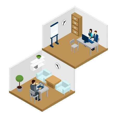 Mensen online communiceren in de kamer met laptop en computer isometrische vector illustration