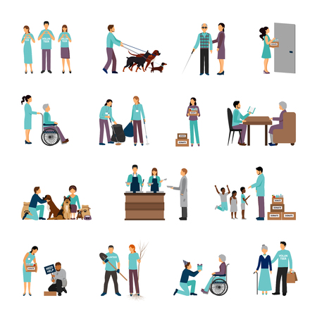 responsibilities: Volunteers set with people helping seniours social support flat icons isolated vector illustration