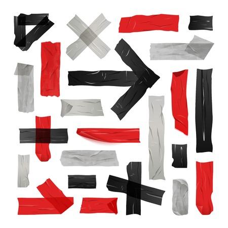 Set di nero rosso e grigio nastri adesivi incollati nelle linee semplici e figure illustrazione vettoriale isolato