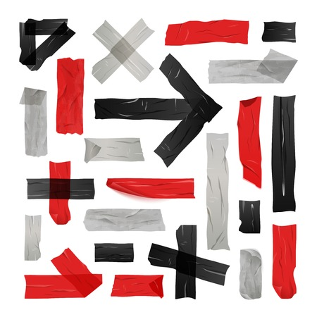 glued: Set of black red and grey sticky tapes glued in simple lines and figures isolated vector illustration