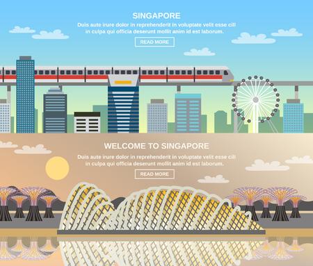 on train: informaci�n en l�nea de Singapur por los viajeros de 3 banners interactivos planas con paisaje urbano de ferrocarril y atracciones tur�sticas nacionales turistas ilustraci�n vectorial