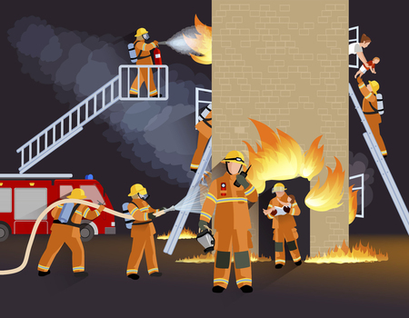Firefighter people design concept with fire truck burning house  and  brigade saving child flat vector illustration Vectores