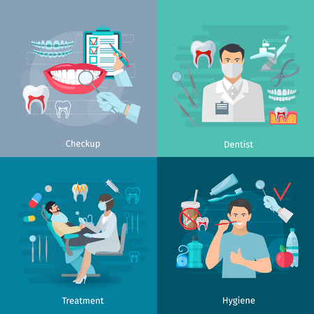 color plano concepto de cuidado de los dientes composición de la plaza del chequeo médico de tratamiento herramientas de dentista y la ilustración vectorial fondo higiene