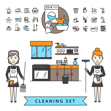 Pulizia concetto di design con cameriere con straccio e scopa in home interior e articoli casalinghi icons set illustrazione vettoriale isolato Vettoriali