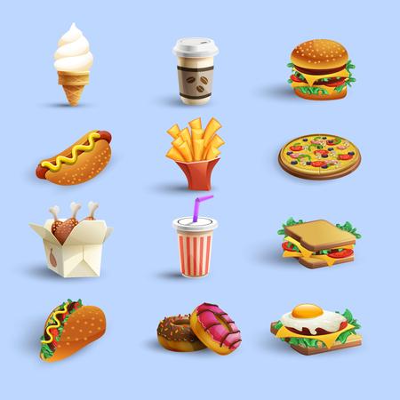 도넛 핫도그 커피와 치즈 버거 추상적 인 색 격리 된 벡터 일러스트와 함께 패스트 푸드 레스토랑 메뉴 아이콘 모음