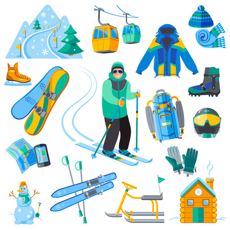 plow: Ski resort icons set with winter sport equipment isolated vector illustration Illustration