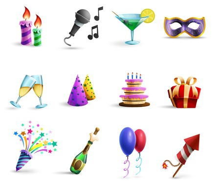 birthday decoration: Season holidays weddings celebration and birthday parties icons set with champagne glasses and balloons abstract vector illustrations
