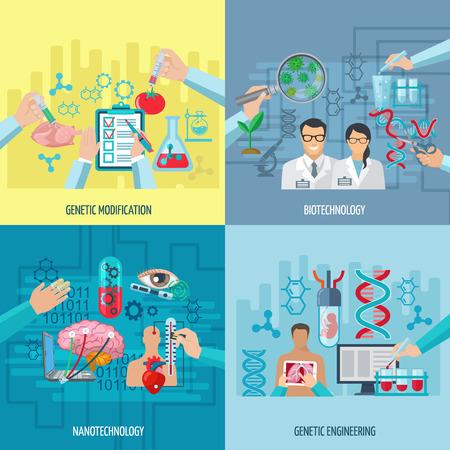 Biotechnologie iconen begrip samenstelling van genetische manipulatie nanotechnologie en genetische modificatie vierkante elementen plat vector illustratie Vector Illustratie