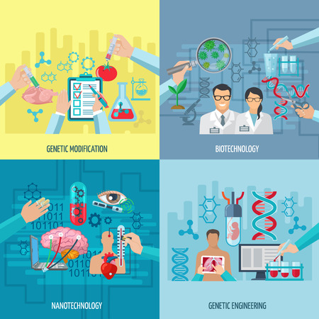 biotecnologia: Biotecnolog�a iconos composici�n concepto de nanotecnolog�a de la ingenier�a gen�tica y los elementos cuadrados modificaciones gen�ticas ilustraci�n vectorial plana