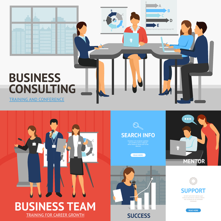 computer screen: Flat banners set of scenes with businessmen and businesswomen in business consulting team and success vector illustration Illustration