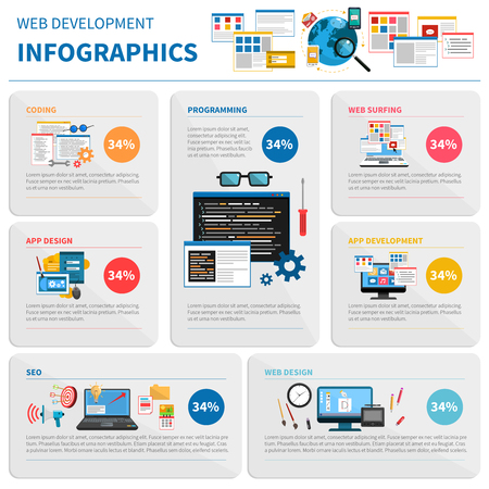 application software: Web development infographic set with coding and design symbols flat vector illustration Illustration
