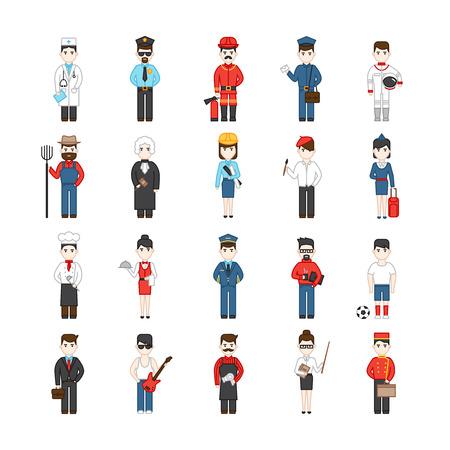 female judge: Twenty cartoon characters of different professions in uniform decorative icons set isolated vector illustration Illustration