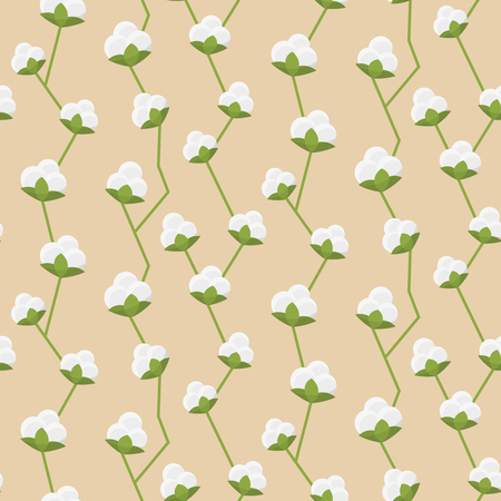 fluffy: Cotton decorative seamless pattern wtih white fluffy flowers vector illustration