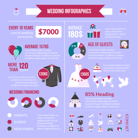 nuptial: Wedding ceremony average cost for urban and country weddings infographic presentation with pictograms diagrams layout vector illustration