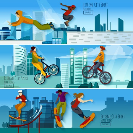 parkour: Extreme city sport 3 flat interactive banners set with skateboarding tricks and parkour abstract isolated vector illustration