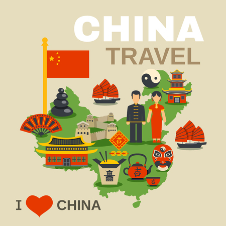 great wall of china: Oriental travel agency love china poster with traditional food paper lantern and red banner flat vector illustration