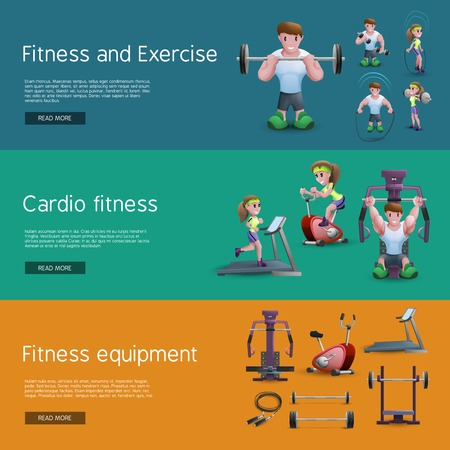 exercise equipment: Banners set of people doing exercise people on cardio training tools and fitness equipment cartoon vector illustration Illustration