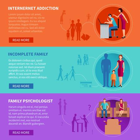 marital: Flat horizontal banners set illustrating psychological causes of family problems vector illustration