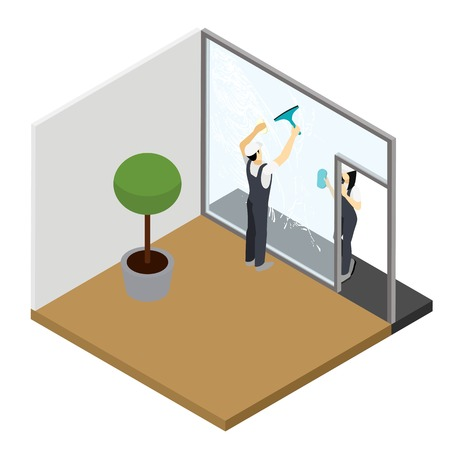 window cleaning: Window cleaning in your apartment with tools and accessories squeezers dusters microfiber for sparkling glass isometric vector illustration Illustration