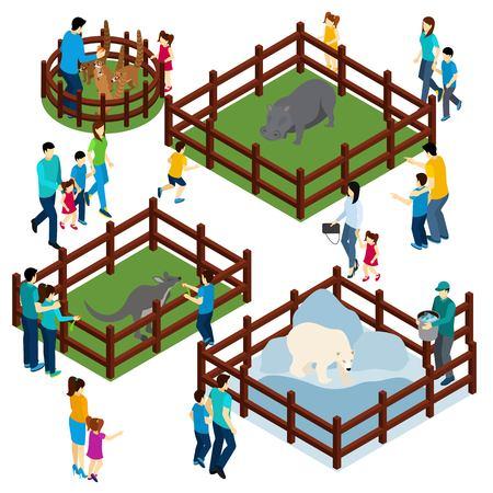 animales del zoologico: parque zoológico al aire libre con animales salvajes en recintos abiertos y visitantes composición isométrica ilustración Bandera abstracta del vector