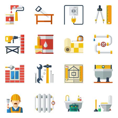 menuisier: Accueil amélioration des tâches de rénovation et de services de réparation des outils et ustensiles icônes plats mis vecteur abstrait illustration isolé