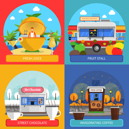 street symbols: Street food concept icons set with fresh juice fruit stall and street chocolate symbols flat isolated vector illustration