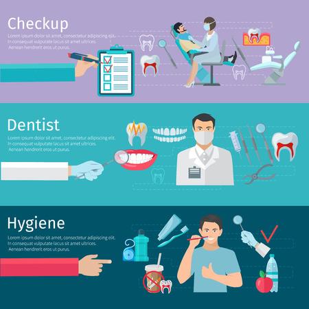 de higiene: Los dientes se preocupan banners horizontales conjunto de herramientas de chequeo dentista profilácticos y productos de higiene ilustración vectorial plana Vectores