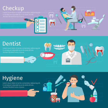 a dentist: Teeth care horizontal banners set of prophylactic checkup dentist tools and hygiene products flat vector illustration