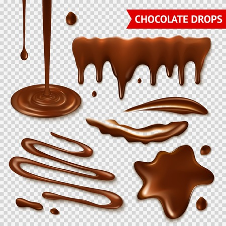 dark chocolate: Realistic hot chocolate splashes on transparent background isolated vector illustration Illustration