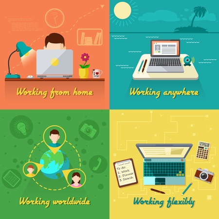 working at home: Freelance design concept set with working from home flat icons isolated vector illustration