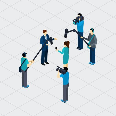 live work city: Journalist profession work situation making live tv reportage outdoor in urban area isometric banner abstract vector illustration