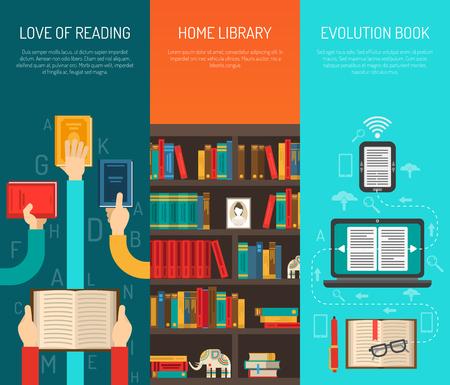 library: evoluci�n biblioteca en casa con libros electr�nicos en l�nea de lectura 3 manos largas y planas verticales pancartas conjunto Ilustraci�n del vector aislado