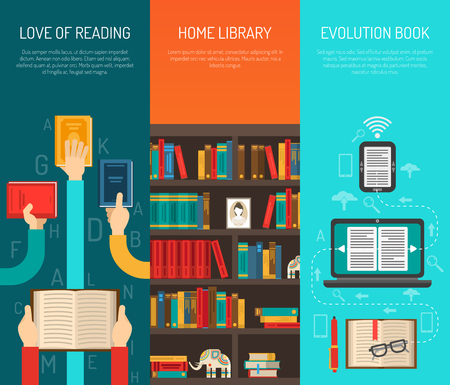 libraries: Home library evolution with e-books online reading 3 flat long hands vertical banners set isolated vector illustration Illustration