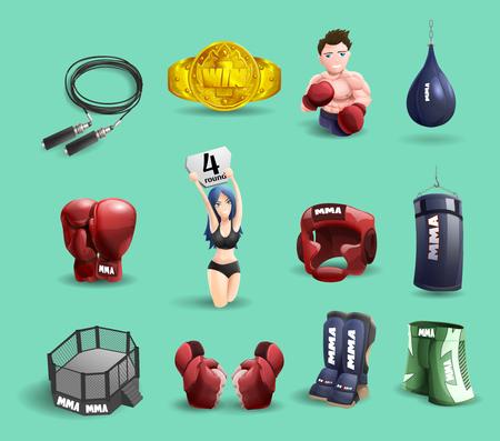 artes marciales mixtas: artes marciales mixtas Equipamiento de jaulas luchador de MMA anillo y accesorios pictogramas 3d Resumen ilustraci�n vectorial aislado Vectores