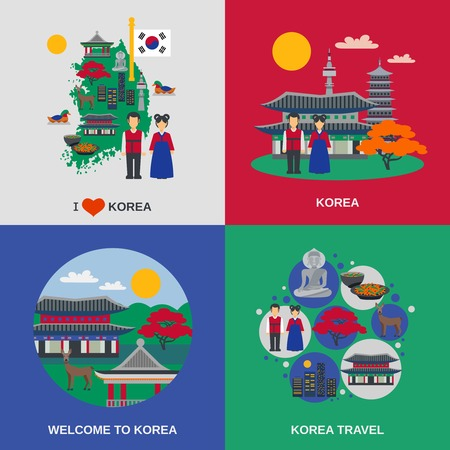 cereza: Korean culture for travelers 4 flat icons square with traditional food and sightseeing abstract isolated vector illustration